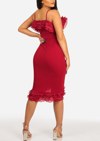 Image of Women's Junior Ladies Club Wear Night Out Sexy Off Shoulder Ruffle Detail Solid Red Crop Top and Pencil Midi Skirt SET