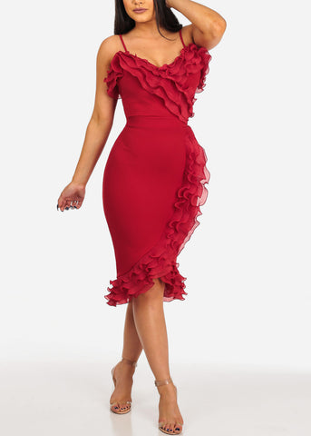 Image of Sexy Ruffled Red 2PC SET