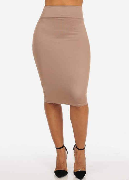 Office Business Career Wear Going Out Sexy High Waisted Pencil Midi Khaki Skirt