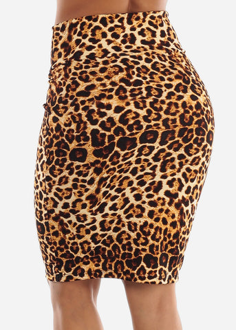 Image of High Waisted Animal Pencil Skirt