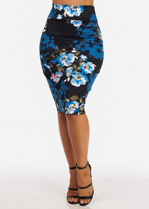 Navy Floral Print High Waisted Midi Skirt