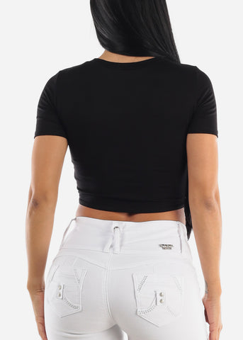 """Bossy"" Graphic Tied Crop Top"