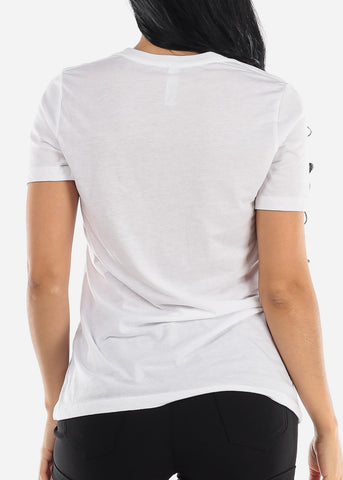"Image of White Graphic T-Shirt ""Positive Thinking"""
