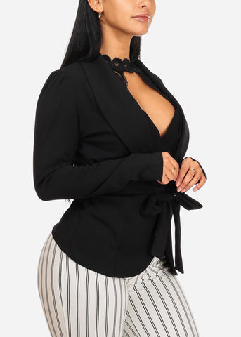 Stylish Black Blazer W Front Tie