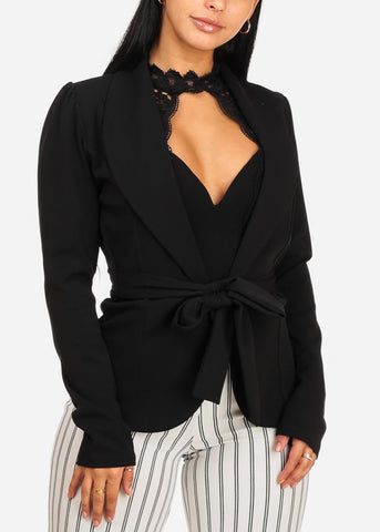 Image of Stylish Black Blazer W Front Tie