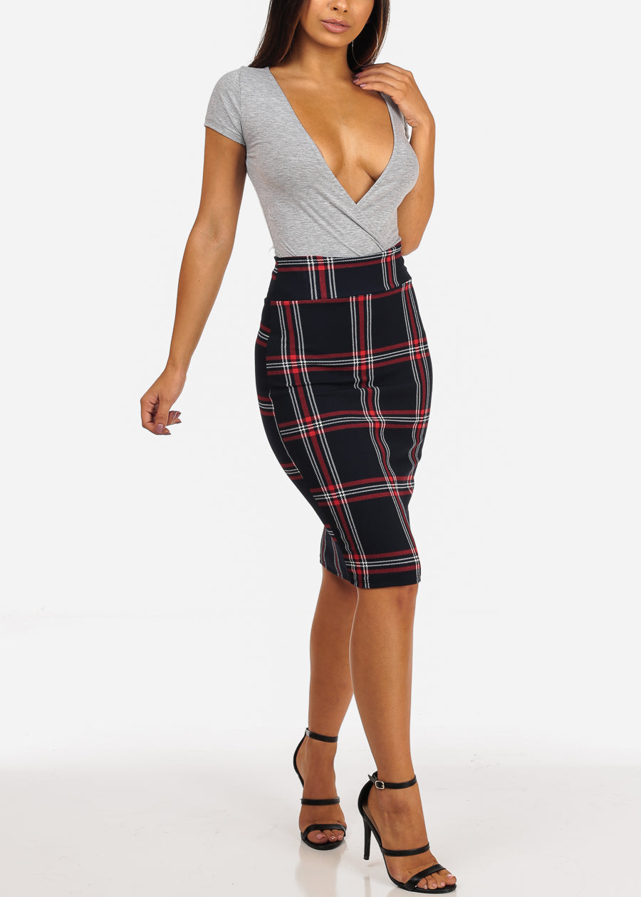 Red Plaid Print Midi Skirt