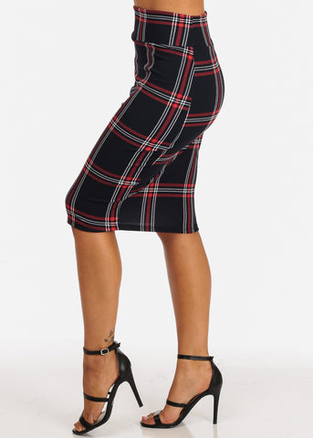 Image of Red And Navy Plaid Print Midi Skirt