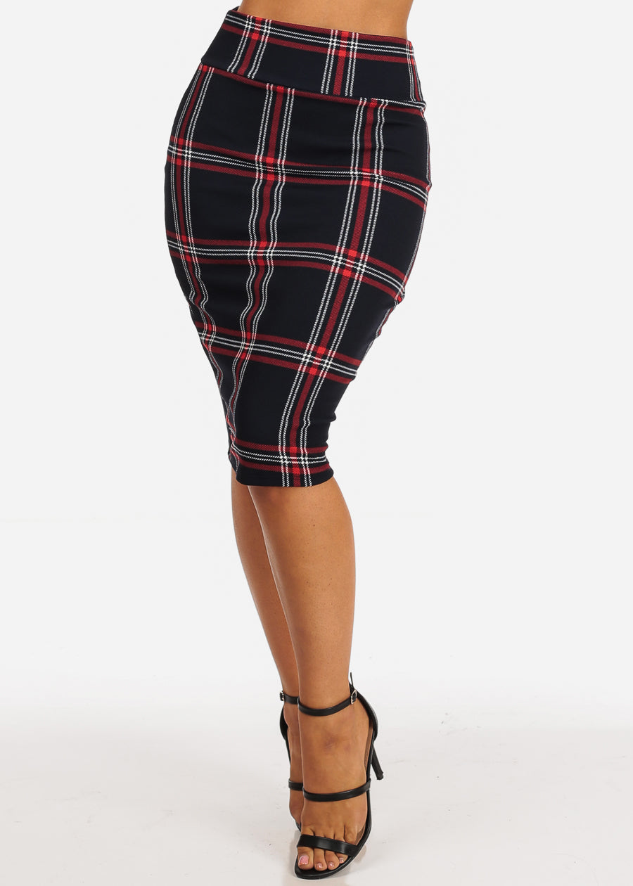 Red And Navy Plaid Print Midi Skirt