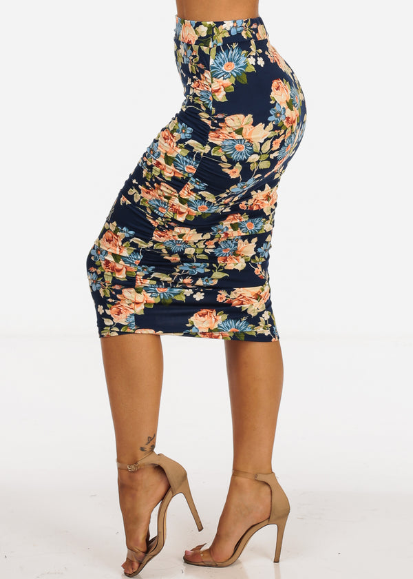 Navy Floral Print Ruched Sides Midi Skirt