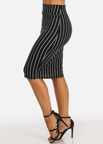 Image of Black And White Stripe Print Midi Skirt