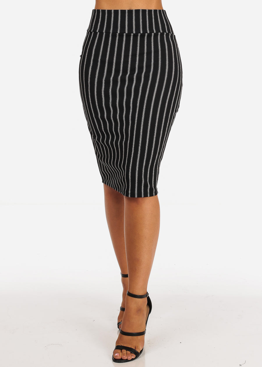 Black And White Stripe Print Midi Skirt