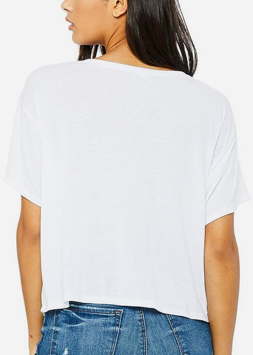 "White Cropped Graphic Tee ""Stress Less"""
