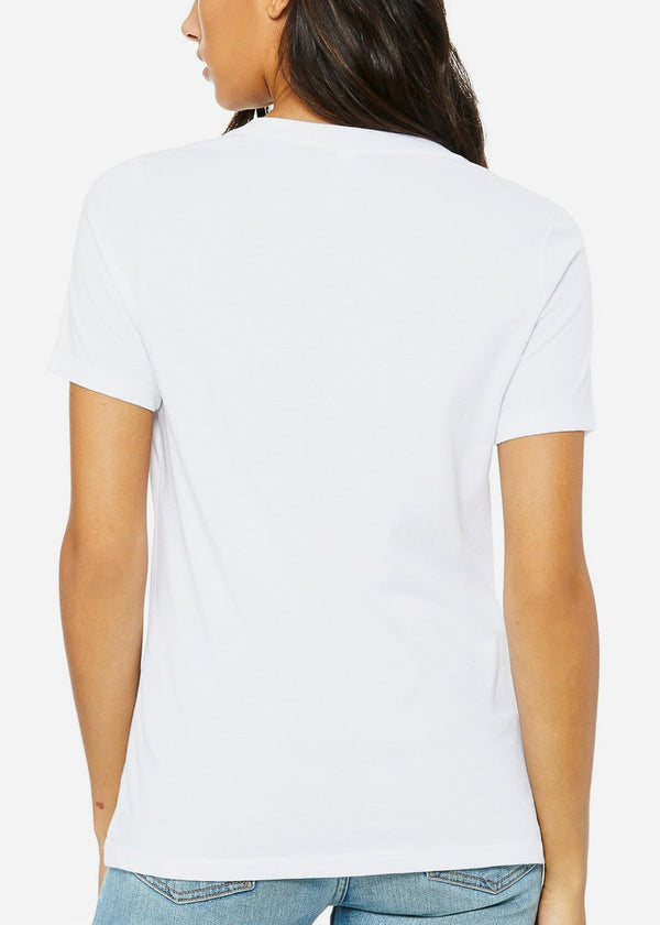 Crew Neck White Graphic Tee