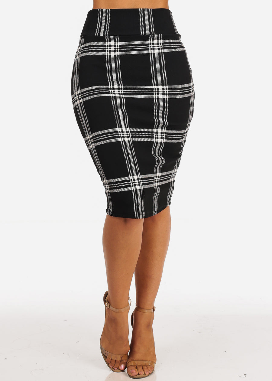 Black And White Plaid Print Midi Skirt