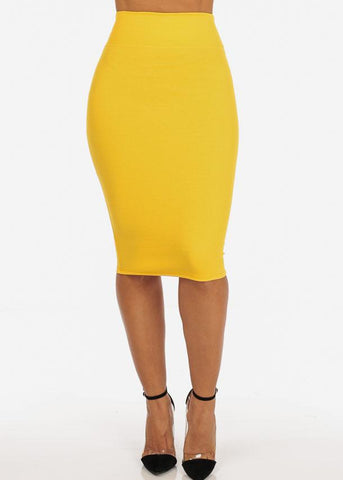 Image of Office Business Career Wear Going Out Sexy High Waisted Pencil Midi Yellow Skirt