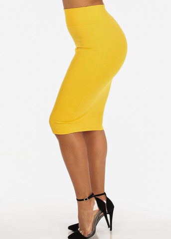 Office Business Career Wear Going Out Sexy High Waisted Pencil Midi Yellow Skirt