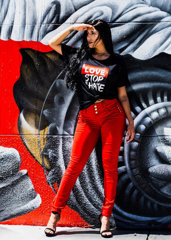 "Black Graphic Tee ""Love Stop The Hate"""
