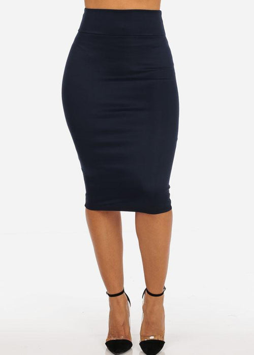 Office Business Career Wear Going Out Sexy High Waisted Pencil Midi Navy Skirt