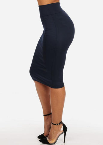 Image of Office Business Career Wear Going Out Sexy High Waisted Pencil Midi Navy Skirt