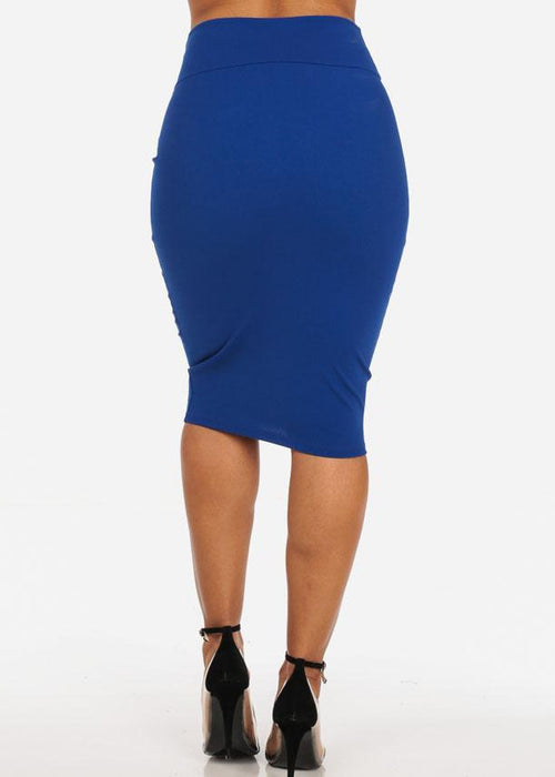 Office Business Career Wear Going Out Sexy High Waisted Pencil Midi Royal Blue Skirt