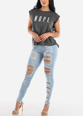 "Heather Grey Graphic Top ""Nope"""
