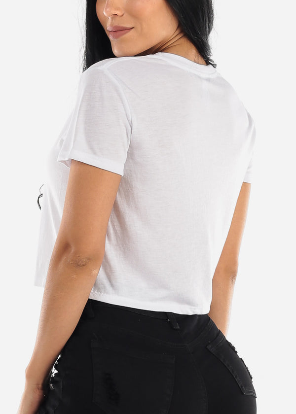 White Graphic Cropped Tee