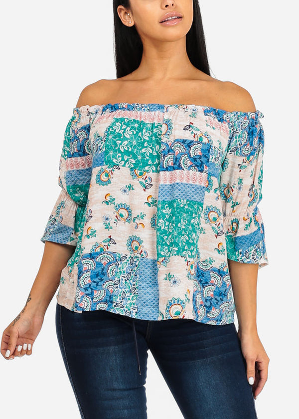 Blue Off Shoulder Floral Blouse