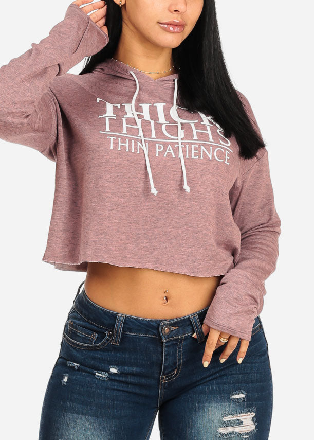 Thick Thighs Graphic Rose Cropped Sweatshirt