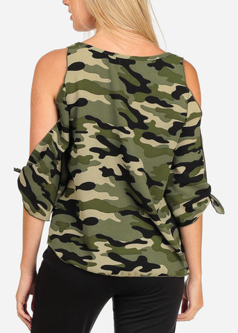 Image of Women's Junior Ladies Open Cold Shoulder Lightweight Camouflage Print Top
