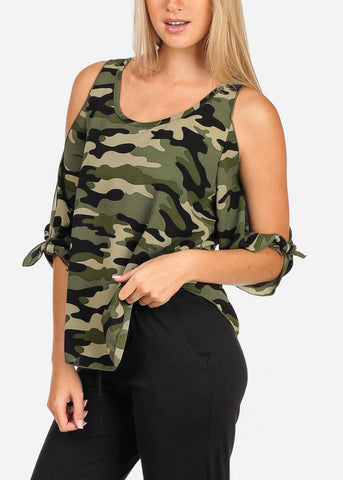 Women's Junior Ladies Open Cold Shoulder Lightweight Camouflage Print Top