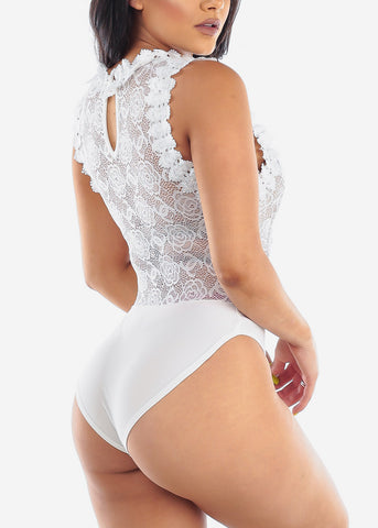 Image of Sexy Floral Lace Crochet White Bodysuit