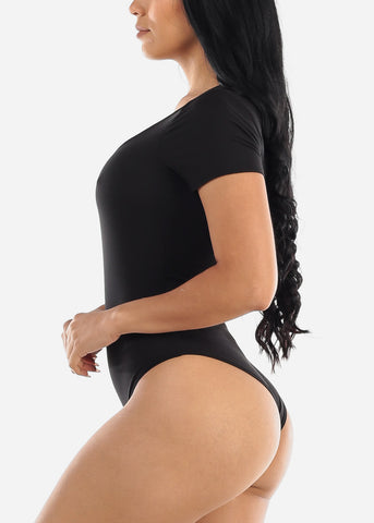 Short Sleeve Basic Black Bodysuit