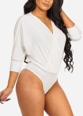 Image of Women's Junior Ladies Stylish Sexy Wrap Front Deep V Plunge Neckline 3/4 Sleeve Stretchy White Bodysuit