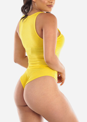 Image of Yellow Ribbed Bodysuit