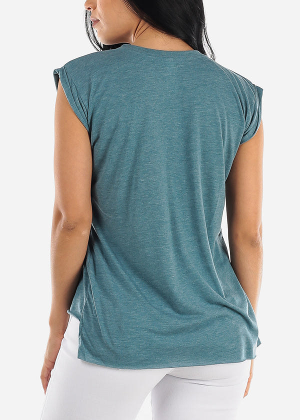 Heather Teal Graphic Top