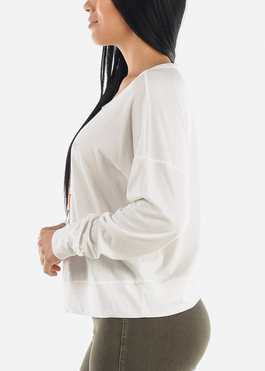 White Long Sleeve Graphic Top