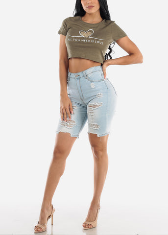 "Olive Crop Top ""All You Need Is Love"""
