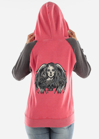 "Image of Red Graphic Hoodie ""Angel Skull"""