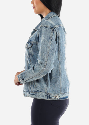 Image of Ripped Light Blue Long Sleeve Denim Jacket