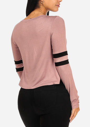 Image of Unicorn Graphic Mauve Long Sleeve Top