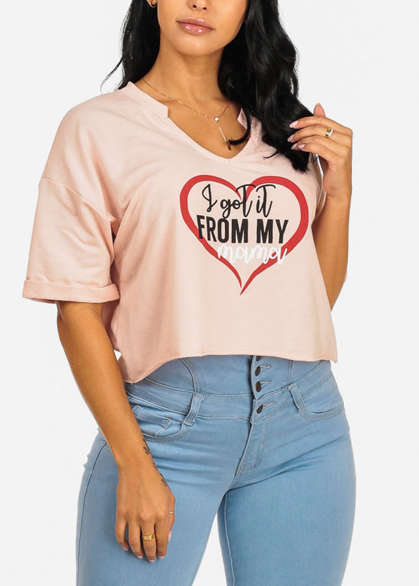 Cute Mama Graphic Loose Fit Pink Crop Top