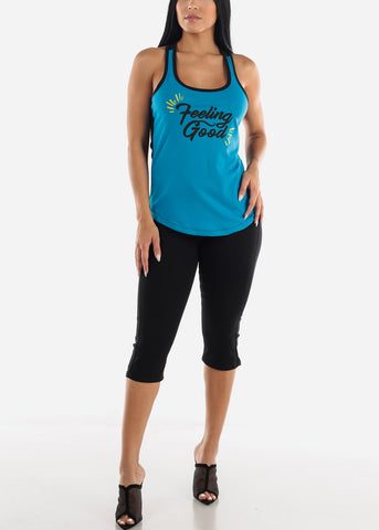 "Image of ""Feeling Good"" Turquoise Tank Top"