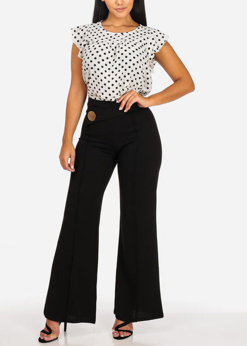 Casual Polka Dot Ruffle Blouse