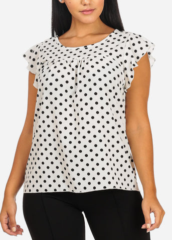 Image of Casual Polka Dot Ruffle Blouse