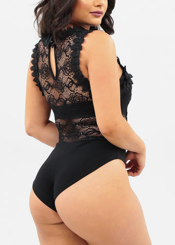 Image of Sexy Floral Lace Crochet Black Bodysuit