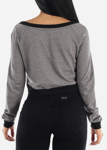 Sexy Loose Long Sleeve Cropped Top