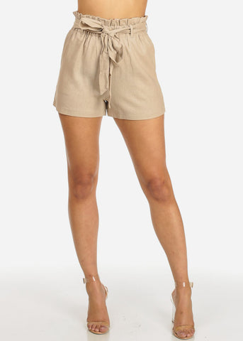 Belted High Rise Beige Shorts
