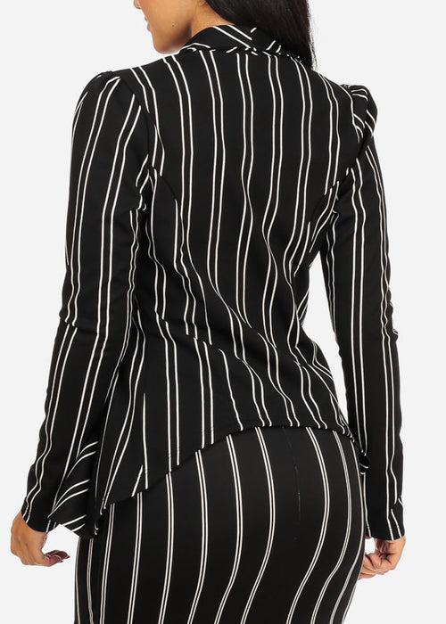 Black Stripe Asymmetrical Blazer