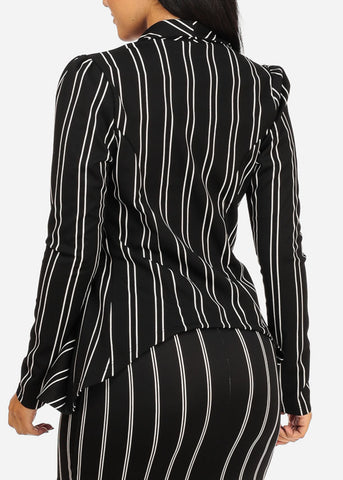 Image of Black Stripe Asymmetrical Blazer