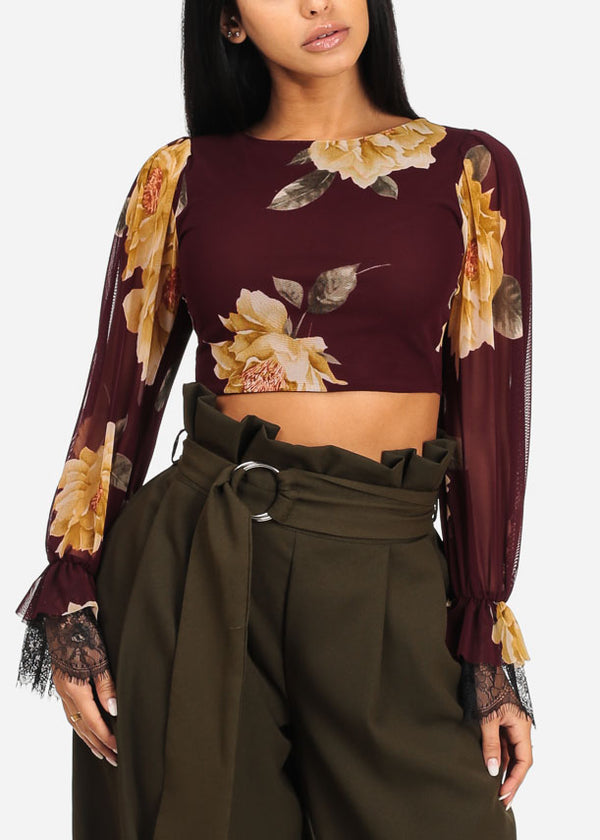 Stylish Brown Floral Crop Top